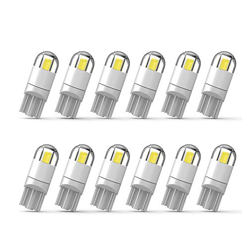 [2018 UPGRADED]194 LED Bulbs 168 T10 LED Bulb W5W LED Bulb Extremely Bright 3030 Chipset 194 168 T10 2825 W5W LED Bulb for License Plate Light Turn Light Signal Light Trunk Lamp-White (12Pcs/pack)