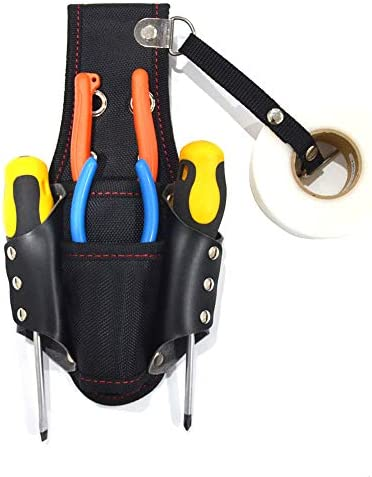 QEES ツールバッグ ウエストバッグ 工具差し入れ ツールロール 工具袋 14*4*25cm 建設業者用 電工者用