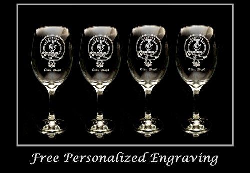 (Boyd Family Scottish Clan Crest - Set of 4, Clear Wine Glass 18oz - Free Personalized Engraving, Large Wine Glass, Celtic Decor, Scottish Wedding)