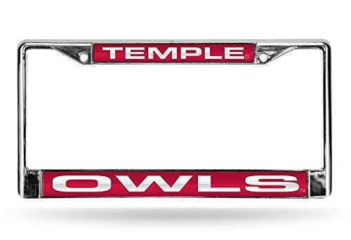 Rico Industries NCAA Temple Owls Laser Cut Inlaid Standard Chrome License Plate Frame