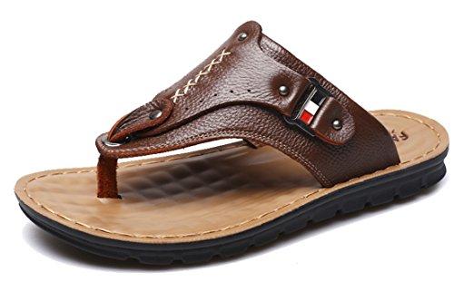 Seaoeey Men's Leather Slippers Flip Flops Beach Shoes Sandals Brown 8.5M ()
