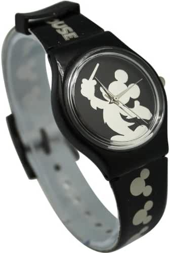 Black Mickey Mouse Conductor Silohuete Watch