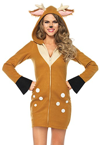 Bambi Halloween Costumes (UHC Women's Cozy Bambi Fawn Deer Fleece Hoodie Dress Outfit Halloween Costume, L (12-14))