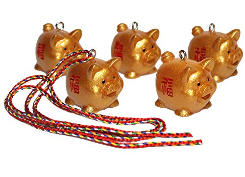 Lucore Gold Lucky Pigs Pendant Charms - 5 PC Set of Golden Hogs Ornaments with Strings DIY Craft ()