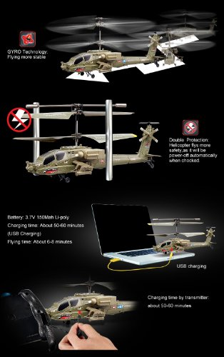 SYMA S109G 3CH Gyro RTF Mini Apache Indoor RC Helicopter With AC Charger