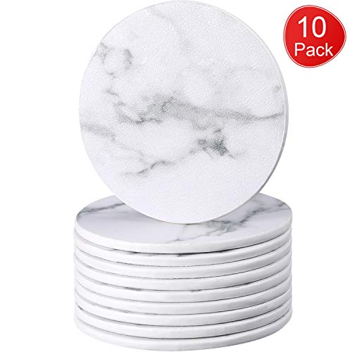 (BOAO Pack of 10 Marble Leather Coasters for Drinks, White Drinks Coasters, Round Cup Mat Pad for Home, Kitchen and Office Use)