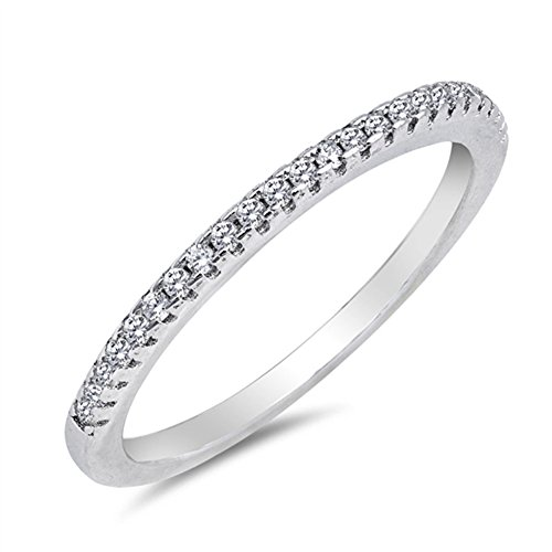 Thin Micro Pave Clear CZ Wedding Ring New .925 Sterling Silver Band Size 9 - Cz Pave Band