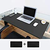 Seenlast Desk Mouse Pad, 31.5'' x 15.7'' Waterproof Non-Slip PU Leather Office Desk Mat Blotter Home Desk Protector Dual-Sided Gaming Writing Mat (Black)