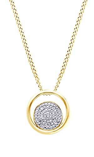 Round White Natural Diamond Double Circle Pendant Necklace in 14k Yellow Gold Over Sterling Silver (0.01 Ct)