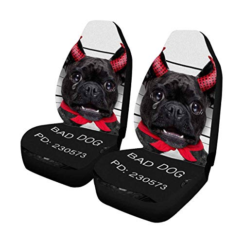 INTERESTPRINT Halloween Pug Dog Car Seat Cover Front Seats Only Full Set of 2, Universal fit for Vehicles, Sedan and Jeep ()
