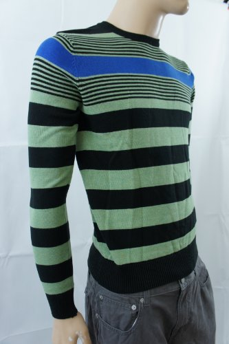 NextHerren Pullover, Gestreift Mehrfarbig Black, Blue, Green
