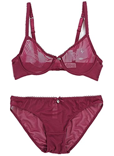 - Women Full Coverage Bra and Panty Set Plus Size Sheer Transparent Mesh Everyday Bra and Brief Set 40C Red