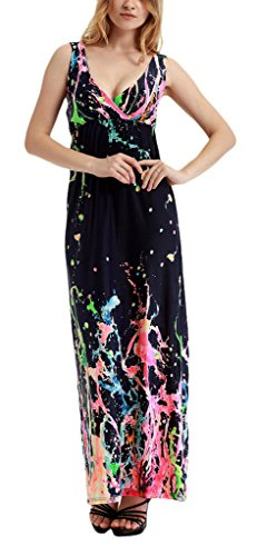 Women's Maxi Boho Bohemian V-neck Sexy Beach Dress Plus Size 913(Rose Red,US 1X/Asian 3XL)