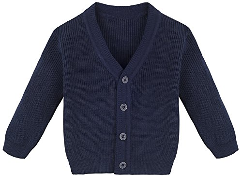Lilax Baby Boys Basic Long Sleeve V-Neck Classic Knit Cardigan Sweater 6-9 Months ()