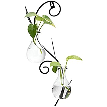 MyGift Decorative Wall-Mounted Scrollwork Metal Sconce with 2 Flower Glass Bulb Vases