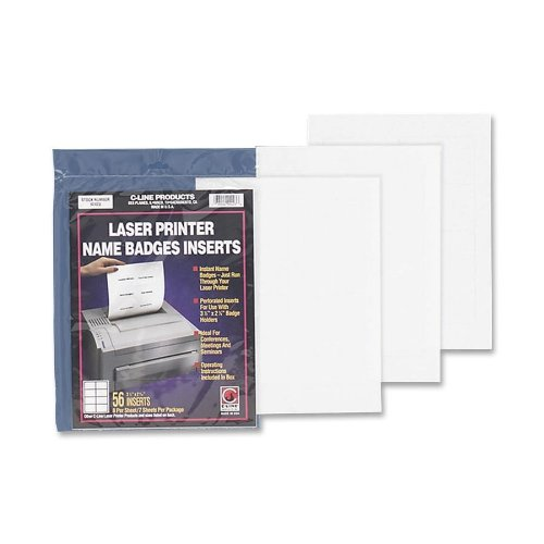 C-line - Badge Insert Refills, 3x4, 60/PK, White, Sold as 1 Package, CLI92443 3x4 C-Line Products Inc