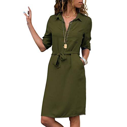 Honwenle Women Button Down Collar Three Quarter Sleeve Pocket Shirt Midi Dress