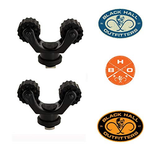 Yakattack Rotogrip Paddle Holder Clip Track Mounted Kayak Fishing Accessory For Geartrac and Mighty Mount, Compatible with RAM, Scotty, Yakattack Mounts 2 Pack Bundle - FREE BHO Stickers Included