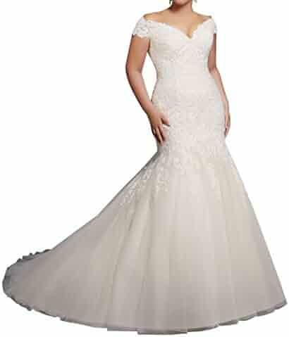 4fa0d7d26e51 Miao Duo Off Shoulder Mermaid Lace Bridal Wedding Dresses Plus Size Bride  M3234