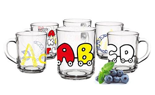 6 Becher Buchstaben-Motiv Tassen 250ml Kindergläser Trinkgläser Saftgläser Glas
