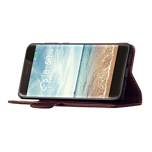 Folio Huawei P8 Lite 2017 Funda, Carcasa Huawei P8 Lite 2017 Caso, Huawei P8 Lite 2017 PU Cuero Funda, Moon mood® Mariposa Soft TPU Interior Cáscara Flip Case Cover Phone Shell Huawei P8 Lite 2017 5.2 Vino Rojo