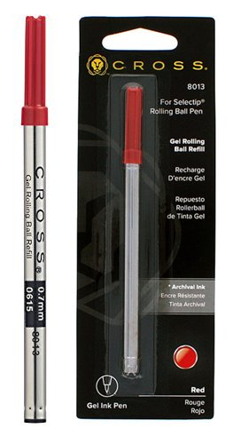 Prices Free Fountain Pen Ink - Cross Selectip Gel Rollingball Pen Refill, Red, 1 Per Card (8013)