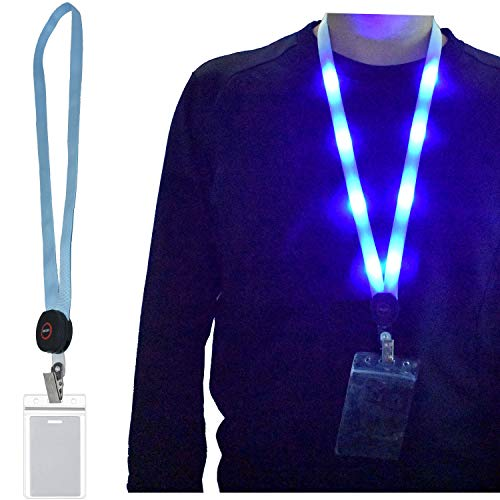 (Premium Light Up LED Cruise Lanyard with ID Badge Key Card Holder, Heavy Duty Flashing Bright Neck Necklace Lanyards for Women Men Kids Disney Disneyland Gifts, 3 Flashing Modes (1)