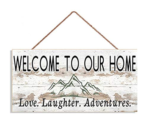 MAIYUAN Welcome to Our Home Sign, Love Laughter Adventures, Distressed Style, Housewarming Gift, Rustic 5