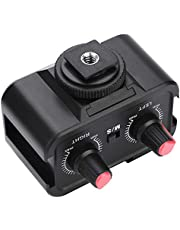 Bewinner WS-V2 2 canali Miscelatore Audio con Microfono, Miscelatore Adattatore Audio Stereo per Microfono Universale, Adattatore Doppio Mono da 1/8 Pollici (3,5 mm) per Fotocamere DSLR, Nero