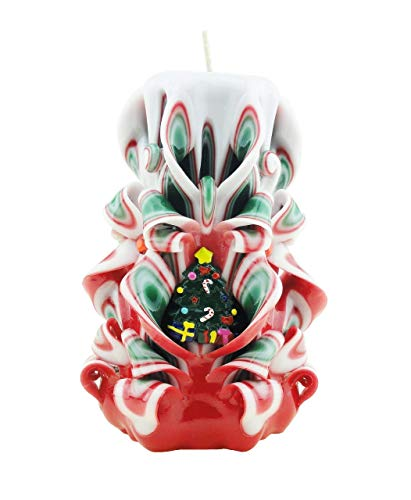 Christmas Tree Carved Candles Red Green White - Custom order available with any scent color shape - Handmade in USA