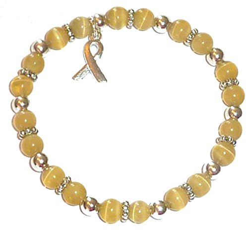 Hidden Hollow Beads Cancer Awareness 6mm Beaded Stretch Bracelet, Adult size, Comes Packaged (Childhood Cancers - Golden)
