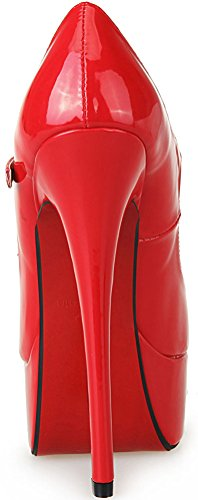 Abby 1 Womens Sexy Supper High Heeled 6.3IN Nightclub Party Prom Cross Dressing Plus Side US9-17 Stiletto Peep Toe Platform Mary Jan Pumps Red oz6NQ