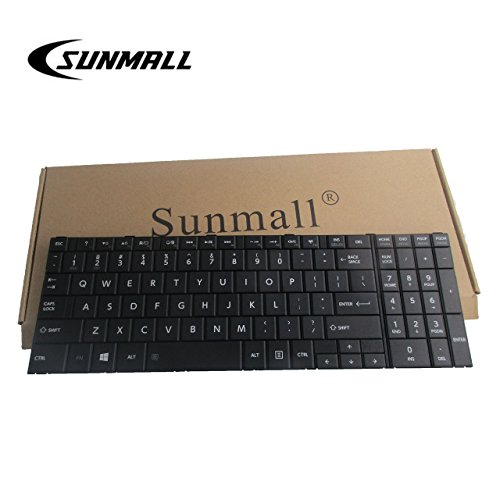 (SUNMALL Laptop Replacement Keyboard Compatible with Toshiba Satellite C50-B C50A-B C50D-B C55-B C50DT-B C50T-A R50-B Fit PN: PK1315H1A00 9Z.NBDSC.001 NSK-VA0SC 01 US Layout/Black (6 Months)