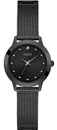 Guess Womens Diamond-Accent Black Stainless Steel Watch 30mm (1197L4) (Guess Black Diamond Accent Watch)