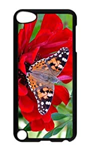 Ipod 5 Case,MOKSHOP Adorable Butterfly Red Flower Hard Case Protective Shell Cell Phone Cover For Ipod 5 - PC Black