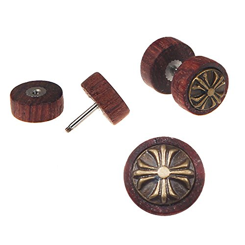 Illusion Set Cross - Cross Flower Wood Cheater Fake Ear Plugs Gauges Illusion Screw Stud Earrings for Men and Women, 10MM