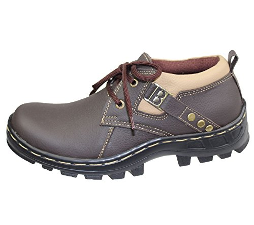 MENS BOYS MILD LEATHER COMFORT BOOTS CASUAL FLAT LACE UP HIKING WALKING SHOES NEW 1013 Brown BTymK