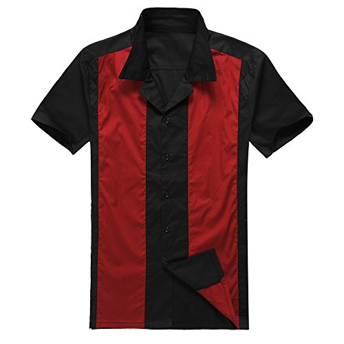 Male Clothing Rockabilly Style Casual Cotton Blouse Mens Fifties Bowling Dress Shirts (XL, Red) (Rockabilly Anchor)