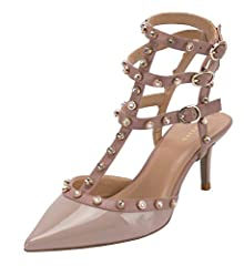 """Womens Studded Kitten Heel Strappy Sandals   Material: Patent PU & Matte PU & Faux Suede. Kitten Heel height: 2.6""""(approx). Various colors for choosing and suitable for many special occasions. Packed in a crafted box; as the best gif..."""