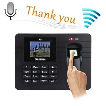 2,4 TFT huella digital reloj de tiempo asistencia reloj empleado nómina Grabadora escáner A-5: Amazon.es: Electrónica