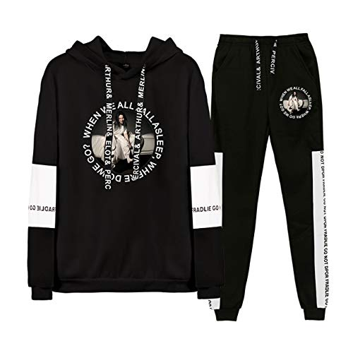 Unisex Billie Eilish Tops and Pants Fashion Sport Sweatsuits Tracksuits Clothing Sets-A13083-Black-2XL