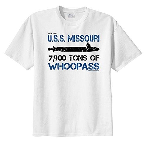 ShipShirts™ Men's SSN 780 USS Missouri 7,900 tons of Whoopass Short Sleeve T-Shirt White XXXL