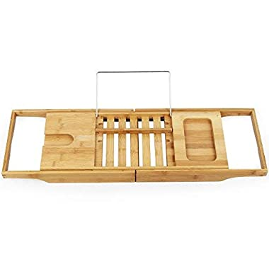 Bamboo Expandable Bathtub Caddy with Cellphone Tray and Wineglass Holder BBCT001