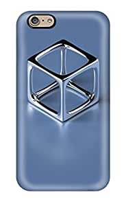 Brand New 6 Defender Case For Iphone (soul Cube Blue Mirror Reflections Geometrical Metalic Grey Shadows)
