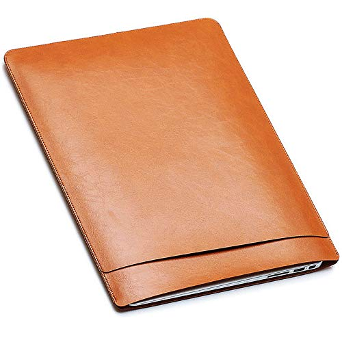 13-13.5 Inch Lightweight Leather Laptop Sleeve Case - ABRONDA Handbag Sleeve Case Cover Compatible 13.3 Inch MacBook Air Pro A1181 A1304 A1342 A1369 A1466 A1425 A1502 Surface Book Laptop - Brown ()