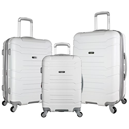 Olympia Denmark 3 Piece Luggage Set, White (Olympia Usa Corsair Expandable Hardcase Spinner Set Reviews)