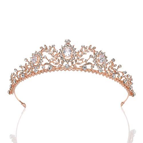 (SWEETV Rose Gold Wedding Tiara for Women - Rhinestone Princess Tiara Headband, Prom Queen Tiara Crown Bridal Headpiece )