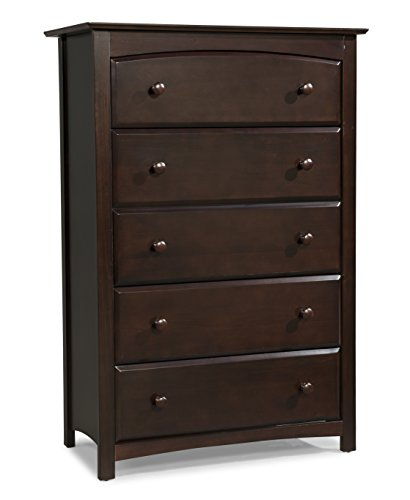 Stork Craft Kenton 5 Drawer Universal Dresser, Espresso (Bedroom Drawers Of Chest For)