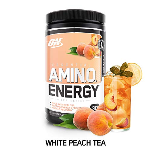(OPTIMUM NUTRITION ESSENTIAL AMINO ENERGY, White Peach Tea, Keto Friendly BCAAs, Preworkout and Essential Amino Acids with Green Tea and Green Coffee Extract, 30 Servings)