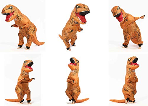 GOPRIME T-rex Halloween Party Fancy Dress, Dinosaur Costume, Adult Size (Brown) by GOPRIME (Image #1)